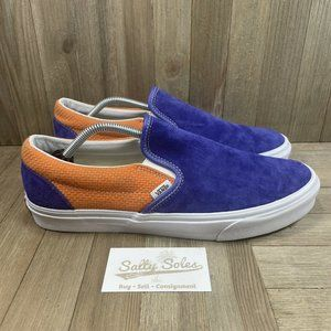 VANS Classic Slip-On Suede Sneakers Blue Apricot Shoes Mens Size 12